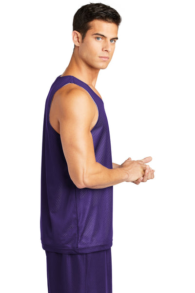 Sport-Tek ST500 Mens Reversible Mesh Moisture Wicking Tank Top Purple Side