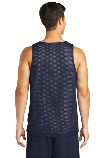 Sport-Tek ST500 Mens Reversible Mesh Moisture Wicking Tank Top Navy Blue Back