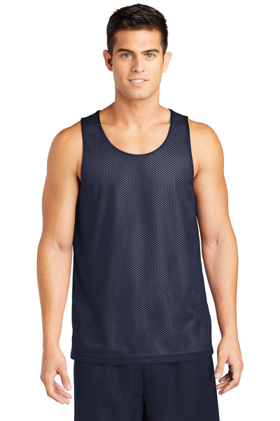 Sport-Tek ST500 Mens Reversible Mesh Moisture Wicking Tank Top Navy Blue Front