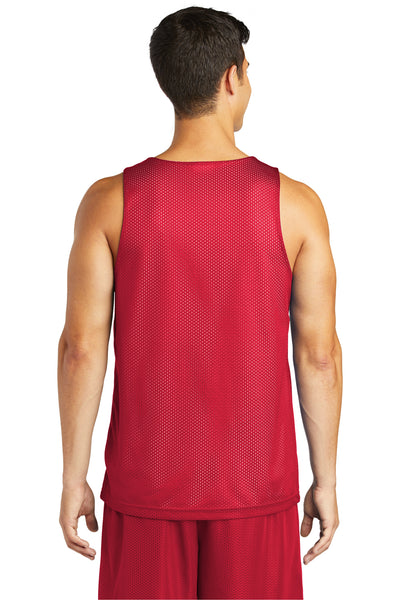 Sport-Tek ST500 Mens Reversible Mesh Moisture Wicking Tank Top Red Back