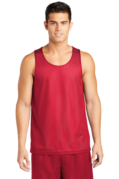 Sport-Tek ST500 Mens Reversible Mesh Moisture Wicking Tank Top Red Front
