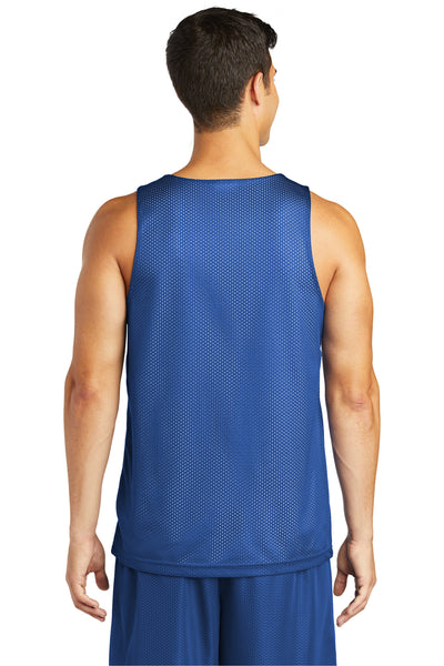 Sport-Tek ST500 Mens Reversible Mesh Moisture Wicking Tank Top Royal Blue Back