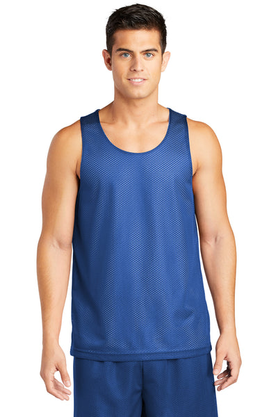 Sport-Tek ST500 Mens Reversible Mesh Moisture Wicking Tank Top Royal Blue Front