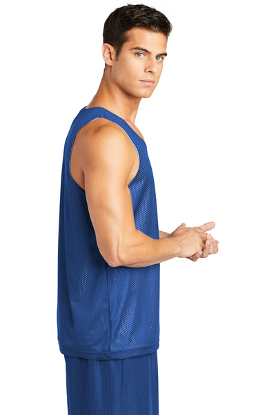 Sport-Tek ST500 Mens Reversible Mesh Moisture Wicking Tank Top Royal Blue Side