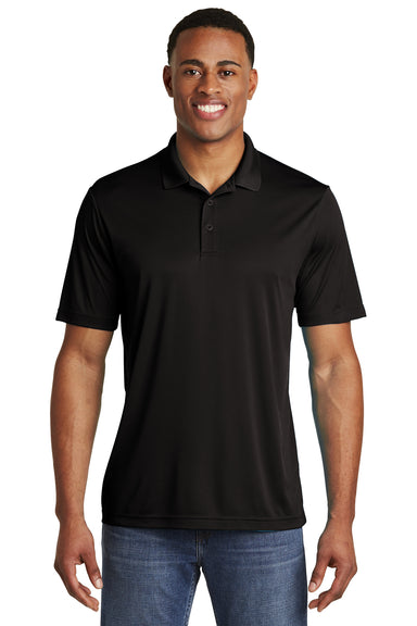 Sport-Tek ST550 Mens Competitor Moisture Wicking Short Sleeve Polo Shirt Black Front