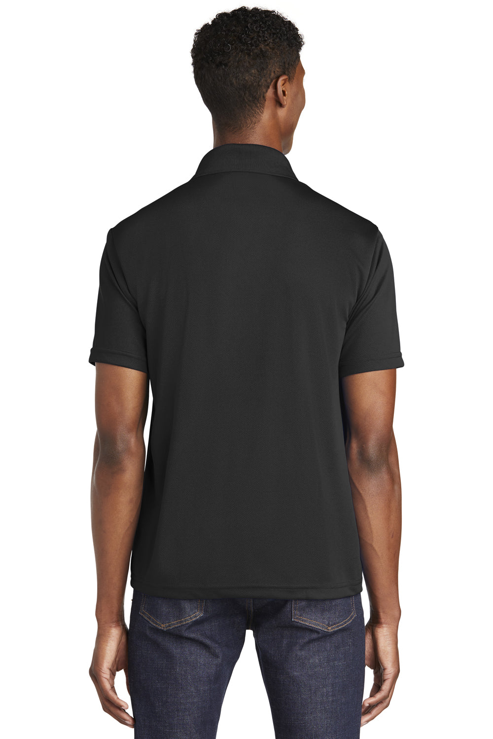 Sport-Tek ST640 Mens RacerMesh Moisture Wicking Short Sleeve Polo Shirt Black Back