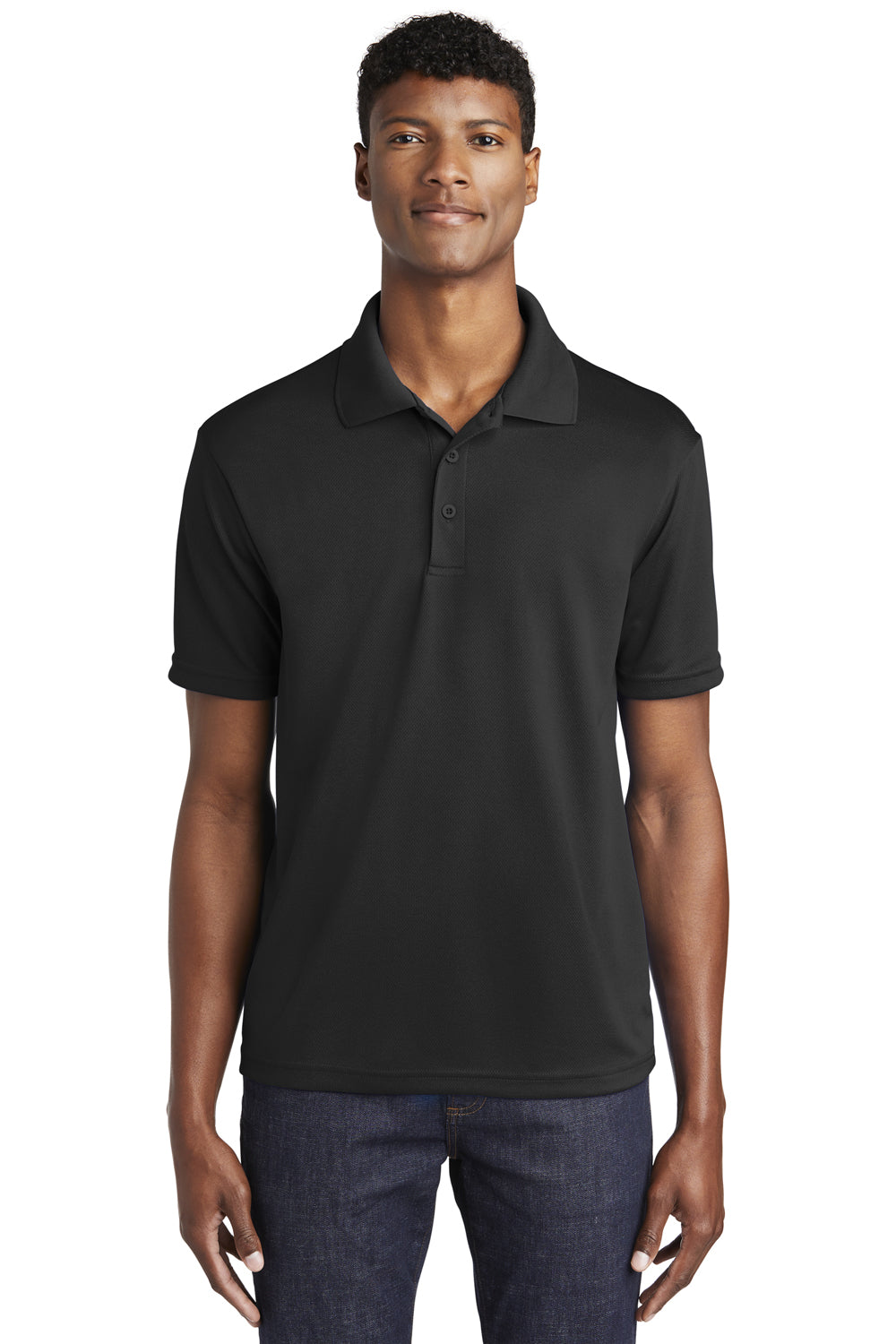 Sport-Tek ST640 Mens RacerMesh Moisture Wicking Short Sleeve Polo Shirt Black Front