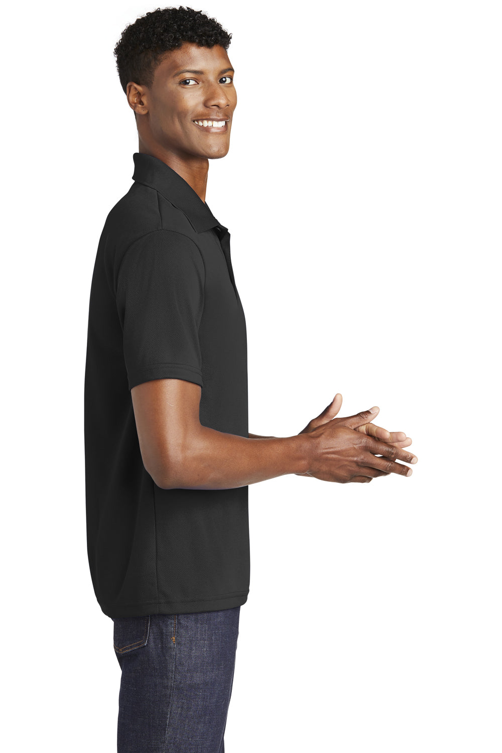 Sport-Tek ST640 Mens RacerMesh Moisture Wicking Short Sleeve Polo Shirt Black Side