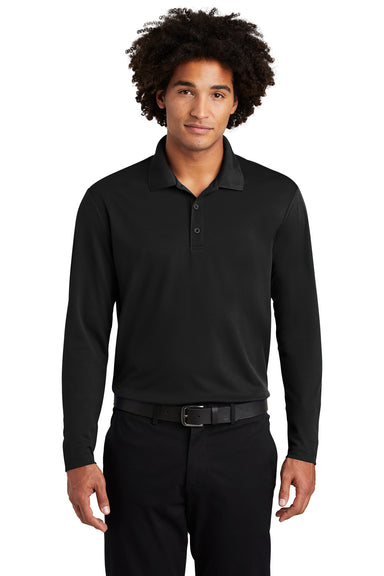 Sport-Tek ST640LS Mens RacerMesh Moisture Wicking Long Sleeve Polo Shirt Black Front