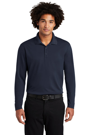 Sport-Tek ST640LS Mens RacerMesh Moisture Wicking Long Sleeve Polo Shirt Navy Blue Front