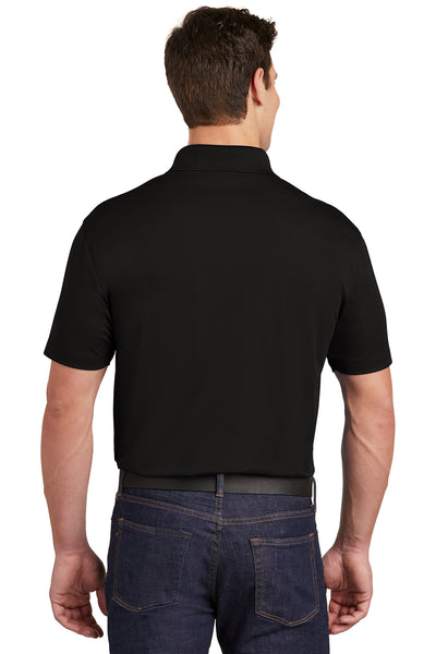 Sport-Tek ST651 Mens Sport-Wick Moisture Wicking Short Sleeve Polo Shirt w/ Pocket Black Back