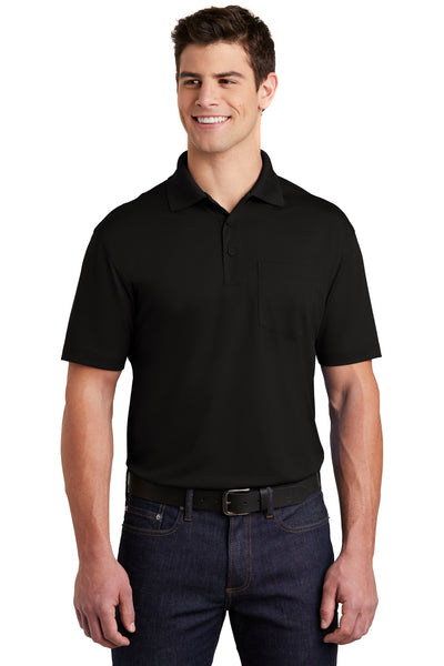 Sport-Tek ST651 Mens Sport-Wick Moisture Wicking Short Sleeve Polo Shirt w/ Pocket Black Front