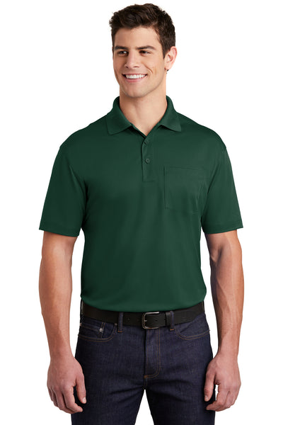 Sport-Tek ST651 Mens Sport-Wick Moisture Wicking Short Sleeve Polo Shirt w/ Pocket Forest Green Front