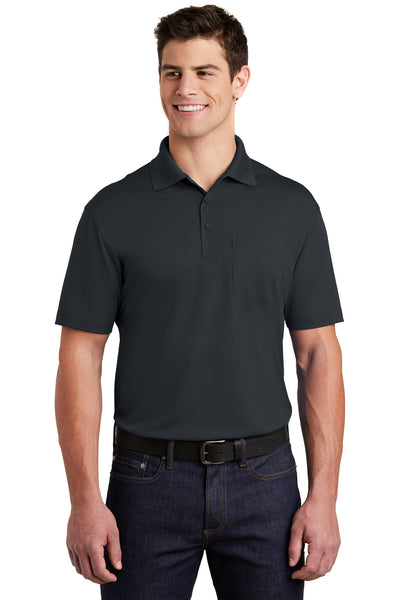 Sport-Tek ST651 Mens Sport-Wick Moisture Wicking Short Sleeve Polo Shirt w/ Pocket Iron Grey Front