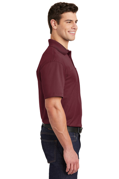 Sport-Tek ST651 Mens Sport-Wick Moisture Wicking Short Sleeve Polo Shirt w/ Pocket Maroon Side