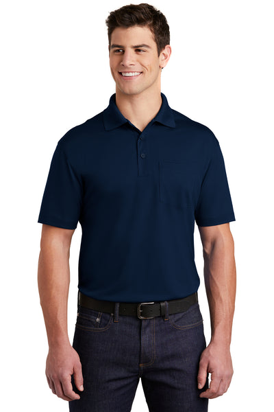 Sport-Tek ST651 Mens Sport-Wick Moisture Wicking Short Sleeve Polo Shirt w/ Pocket Navy Blue Front