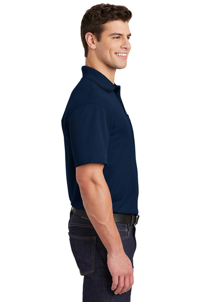 Sport-Tek ST651 Mens Sport-Wick Moisture Wicking Short Sleeve Polo Shirt w/ Pocket Navy Blue Side