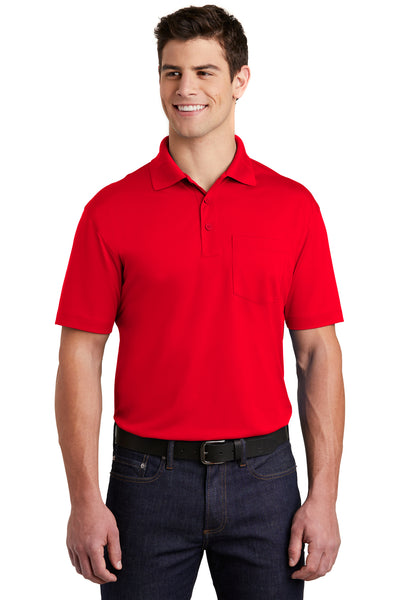 Sport-Tek ST651 Mens Sport-Wick Moisture Wicking Short Sleeve Polo Shirt w/ Pocket Red Front