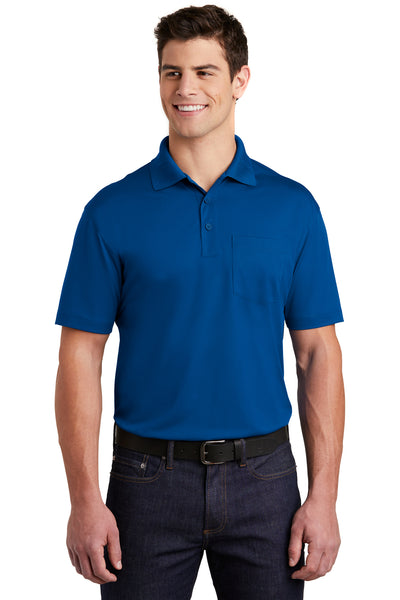Sport-Tek ST651 Mens Sport-Wick Moisture Wicking Short Sleeve Polo Shirt w/ Pocket Royal Blue Front