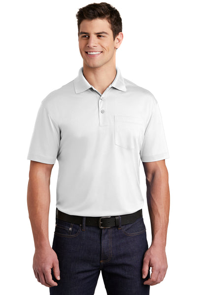 Sport-Tek ST651 Mens Sport-Wick Moisture Wicking Short Sleeve Polo Shirt w/ Pocket White Front