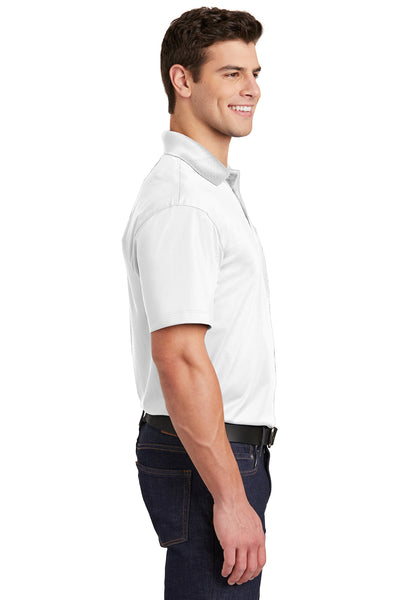 Sport-Tek ST651 Mens Sport-Wick Moisture Wicking Short Sleeve Polo Shirt w/ Pocket White Side