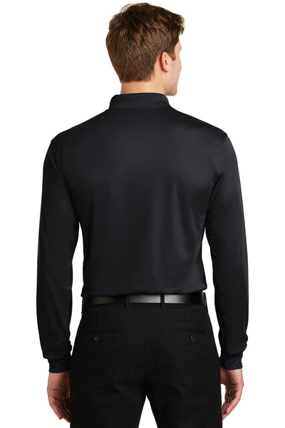 Sport-Tek ST657 Mens Sport-Wick Moisture Wicking Long Sleeve Polo Shirt Black Back