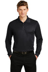 Sport-Tek ST657 Mens Sport-Wick Moisture Wicking Long Sleeve Polo Shirt Black Front