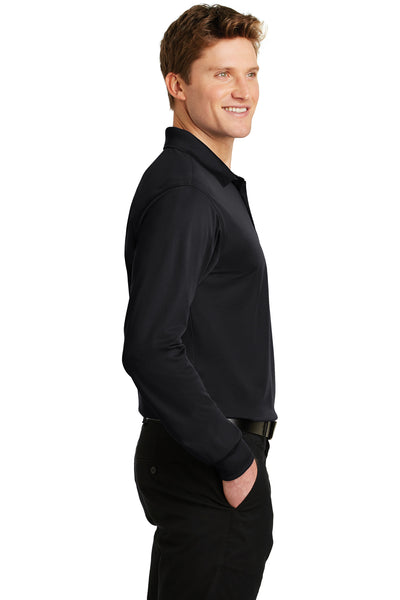 Sport-Tek ST657 Mens Sport-Wick Moisture Wicking Long Sleeve Polo Shirt Black Side