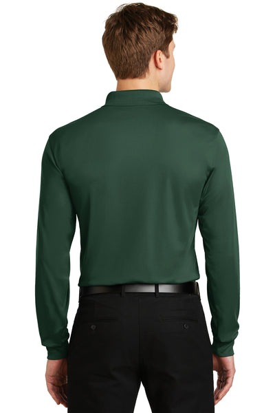 Sport-Tek ST657 Mens Sport-Wick Moisture Wicking Long Sleeve Polo Shirt Forest Green Back
