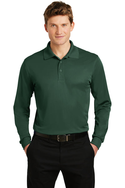 Sport-Tek ST657 Mens Sport-Wick Moisture Wicking Long Sleeve Polo Shirt Forest Green Front