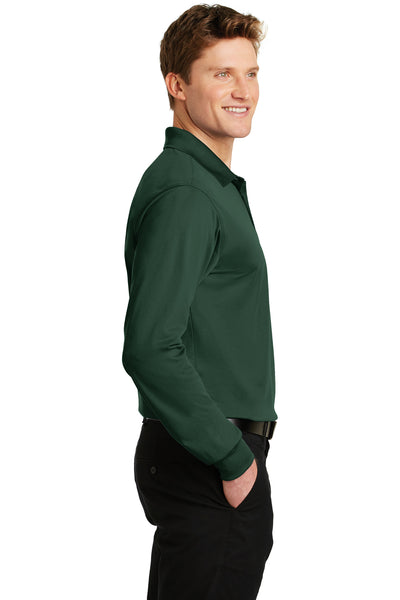 Sport-Tek ST657 Mens Sport-Wick Moisture Wicking Long Sleeve Polo Shirt Forest Green Side