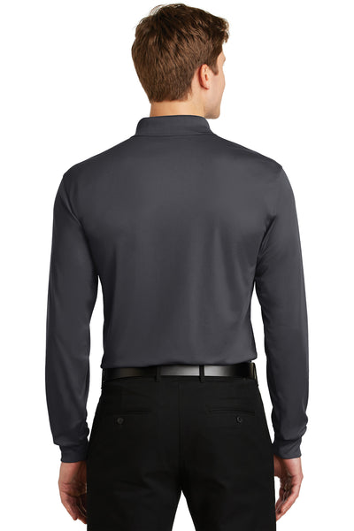 Sport-Tek ST657 Mens Sport-Wick Moisture Wicking Long Sleeve Polo Shirt Iron Grey Back