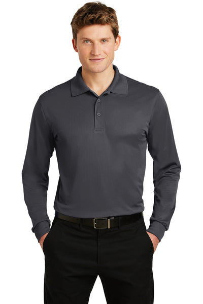 Sport-Tek ST657 Mens Sport-Wick Moisture Wicking Long Sleeve Polo Shirt Iron Grey Front