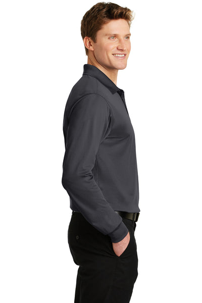 Sport-Tek ST657 Mens Sport-Wick Moisture Wicking Long Sleeve Polo Shirt Iron Grey Side