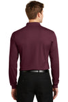 Sport-Tek ST657 Mens Sport-Wick Moisture Wicking Long Sleeve Polo Shirt Maroon Back