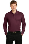 Sport-Tek ST657 Mens Sport-Wick Moisture Wicking Long Sleeve Polo Shirt Maroon Front