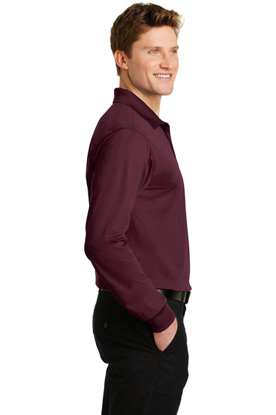 Sport-Tek ST657 Mens Sport-Wick Moisture Wicking Long Sleeve Polo Shirt Maroon Side
