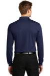 Sport-Tek ST657 Mens Sport-Wick Moisture Wicking Long Sleeve Polo Shirt Navy Blue Back