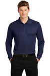 Sport-Tek ST657 Mens Sport-Wick Moisture Wicking Long Sleeve Polo Shirt Navy Blue Front