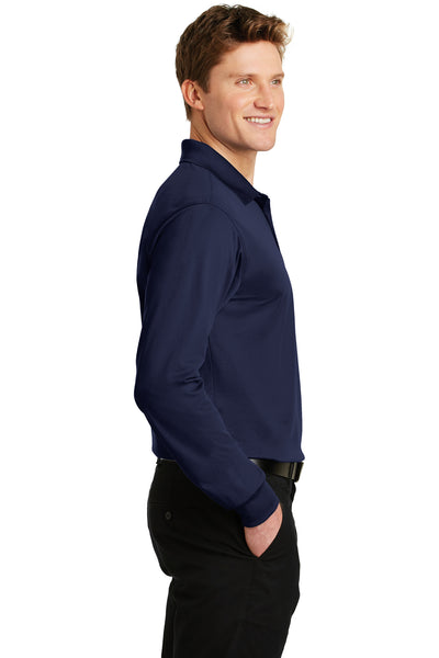 Sport-Tek ST657 Mens Sport-Wick Moisture Wicking Long Sleeve Polo Shirt Navy Blue Side