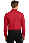 Sport-Tek ST657 Mens Sport-Wick Moisture Wicking Long Sleeve Polo Shirt Red Back
