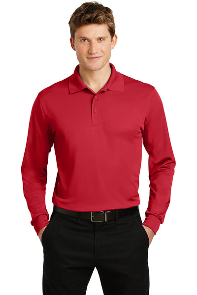 Sport-Tek ST657 Mens Sport-Wick Moisture Wicking Long Sleeve Polo Shirt Red Front