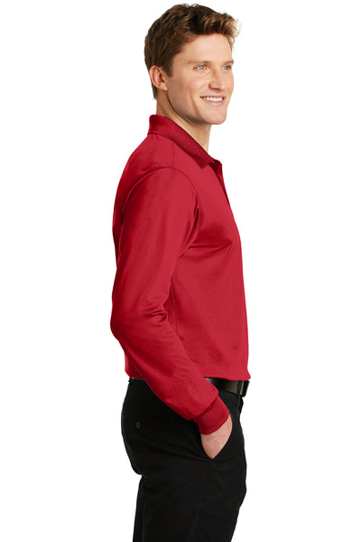 Sport-Tek ST657 Mens Sport-Wick Moisture Wicking Long Sleeve Polo Shirt Red Side