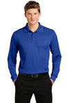 Sport-Tek ST657 Mens Sport-Wick Moisture Wicking Long Sleeve Polo Shirt Royal Blue Front