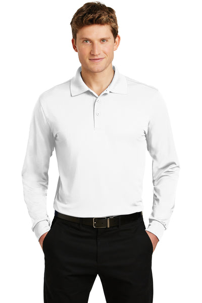 Sport-Tek ST657 Mens Sport-Wick Moisture Wicking Long Sleeve Polo Shirt White Front
