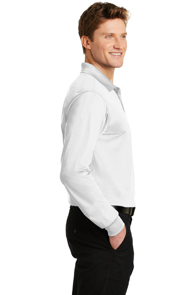 Sport-Tek ST657 Mens Sport-Wick Moisture Wicking Long Sleeve Polo Shirt White Side