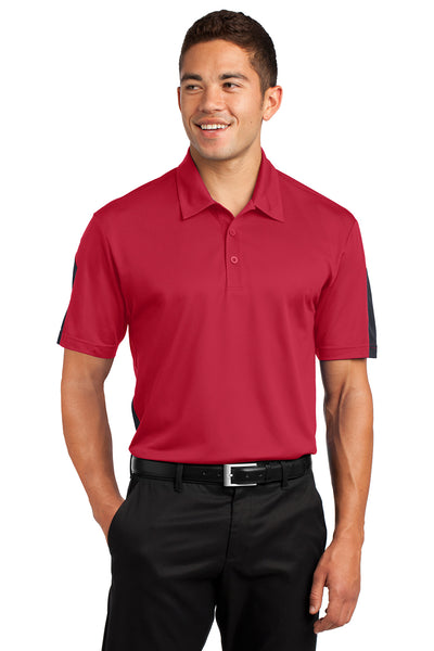 Sport-Tek ST695 Mens Active Mesh Moisture Wicking Short Sleeve Polo Shirt Red/Grey Front