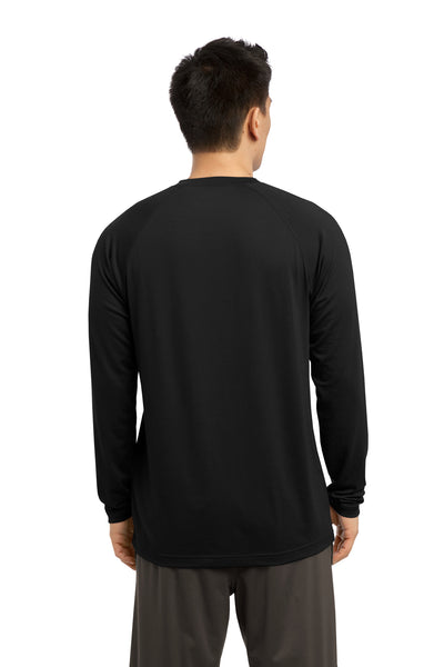 Sport-Tek ST700LS Mens Ultimate Performance Moisture Wicking Long Sleeve Crewneck T-Shirt Black Back