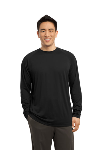 Sport-Tek ST700LS Mens Ultimate Performance Moisture Wicking Long Sleeve Crewneck T-Shirt Black Front