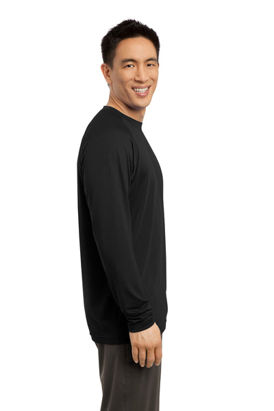 Sport-Tek ST700LS Mens Ultimate Performance Moisture Wicking Long Sleeve Crewneck T-Shirt Black Side